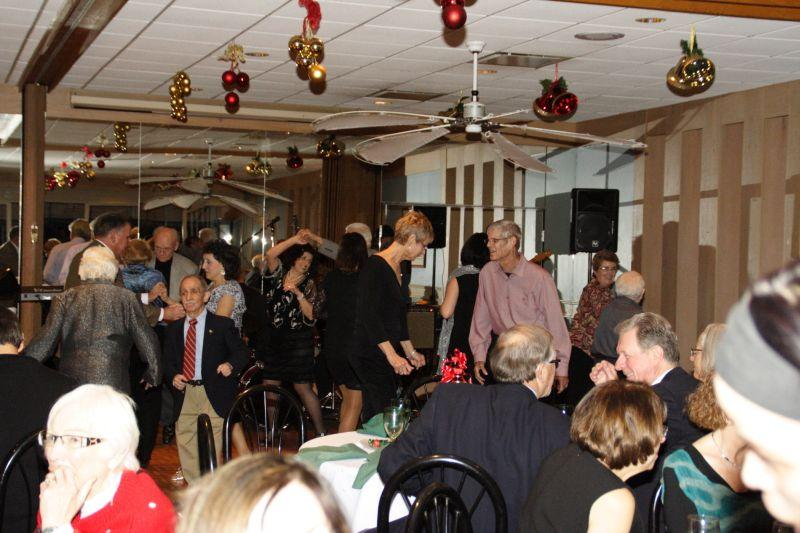 People dancing at holiday party