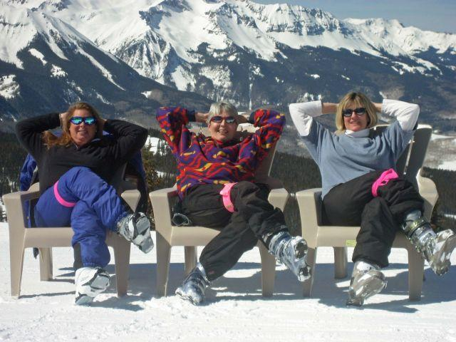 People relaxing slopeside at Telluride, Colorado