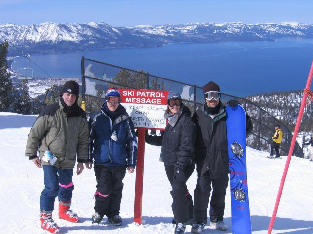 Group of skiers on slope labeled experts only at Lake Tahoe