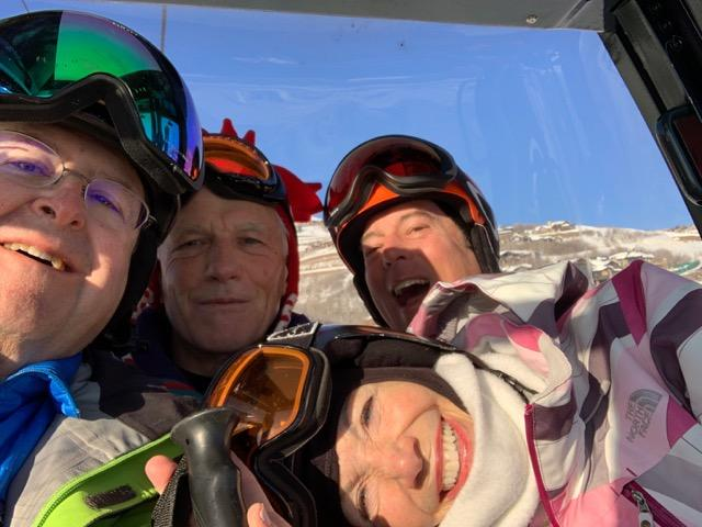 Four skiers at Deer Valley